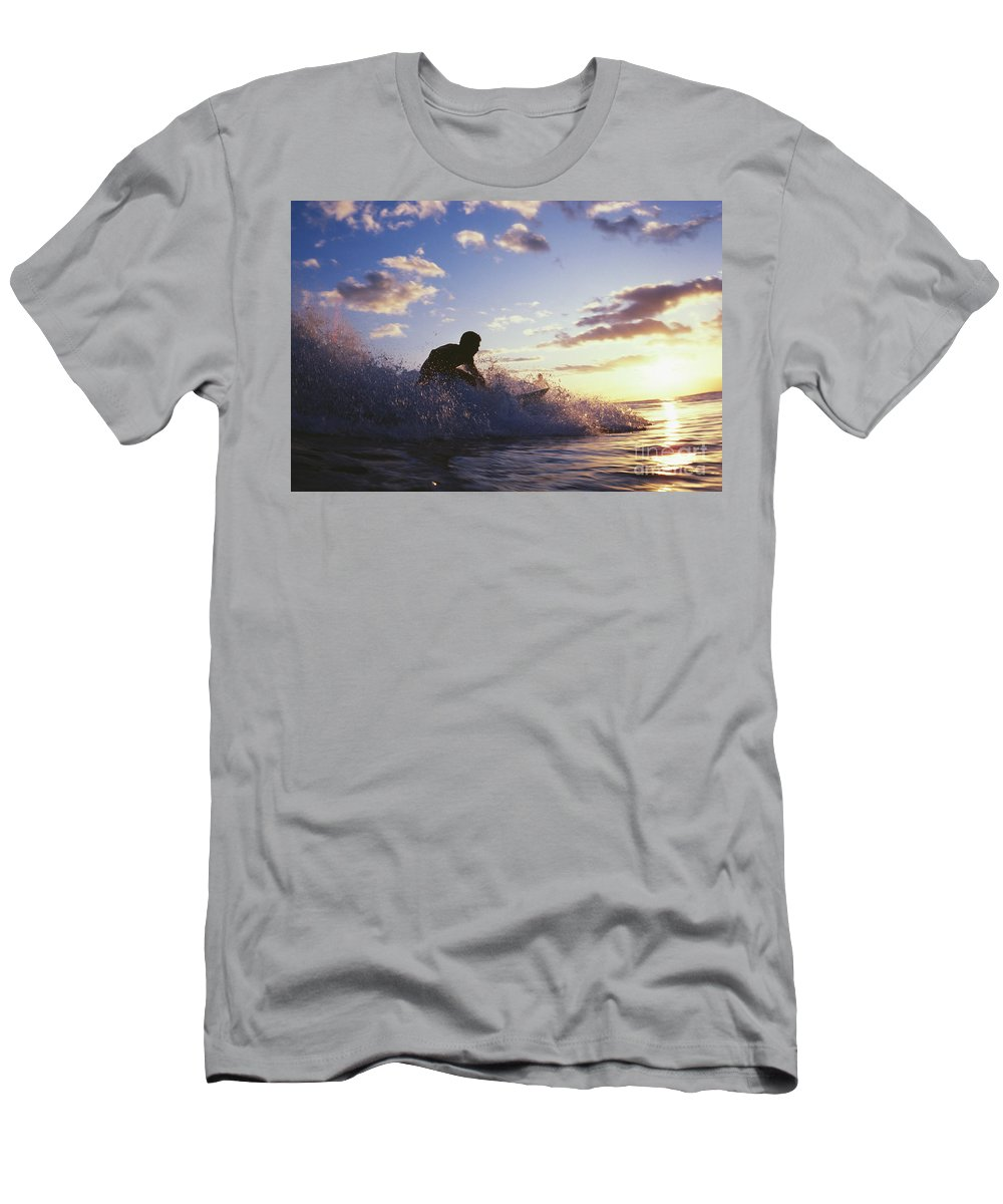Adrenaline Men's T-Shirt (Athletic Fit) featuring the photograph Surfer At Sunset by Bob Abraham - Printscapes