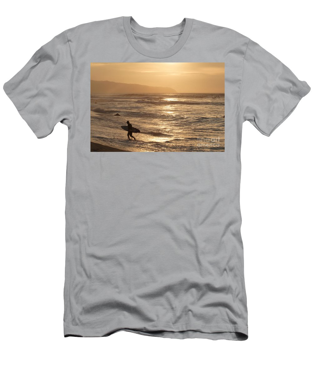 Cloud Men's T-Shirt (Athletic Fit) featuring the photograph Surfer At Sunset by Vince Cavataio - Printscapes
