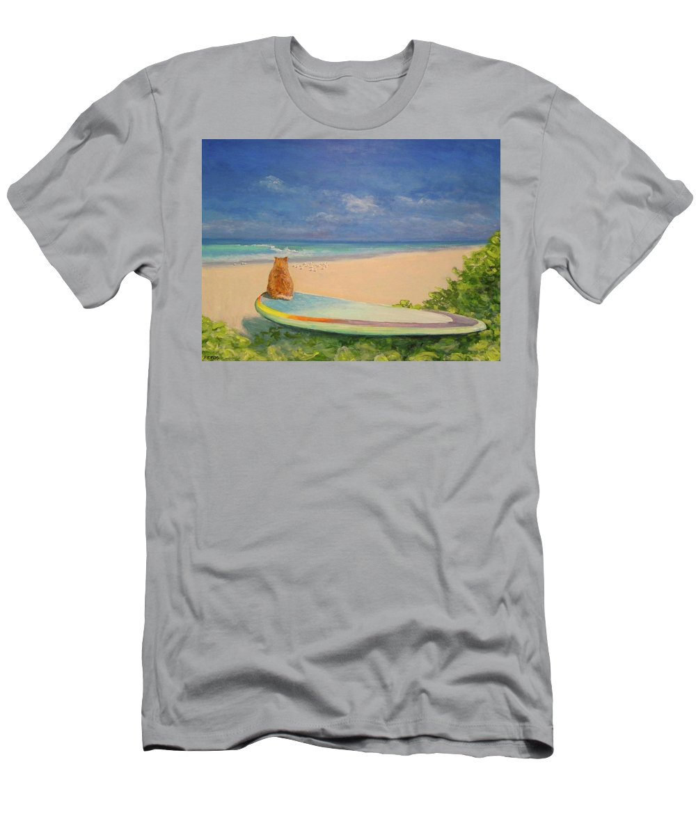 Cat T-Shirt featuring the painting Surfer Cat by Paul Emig