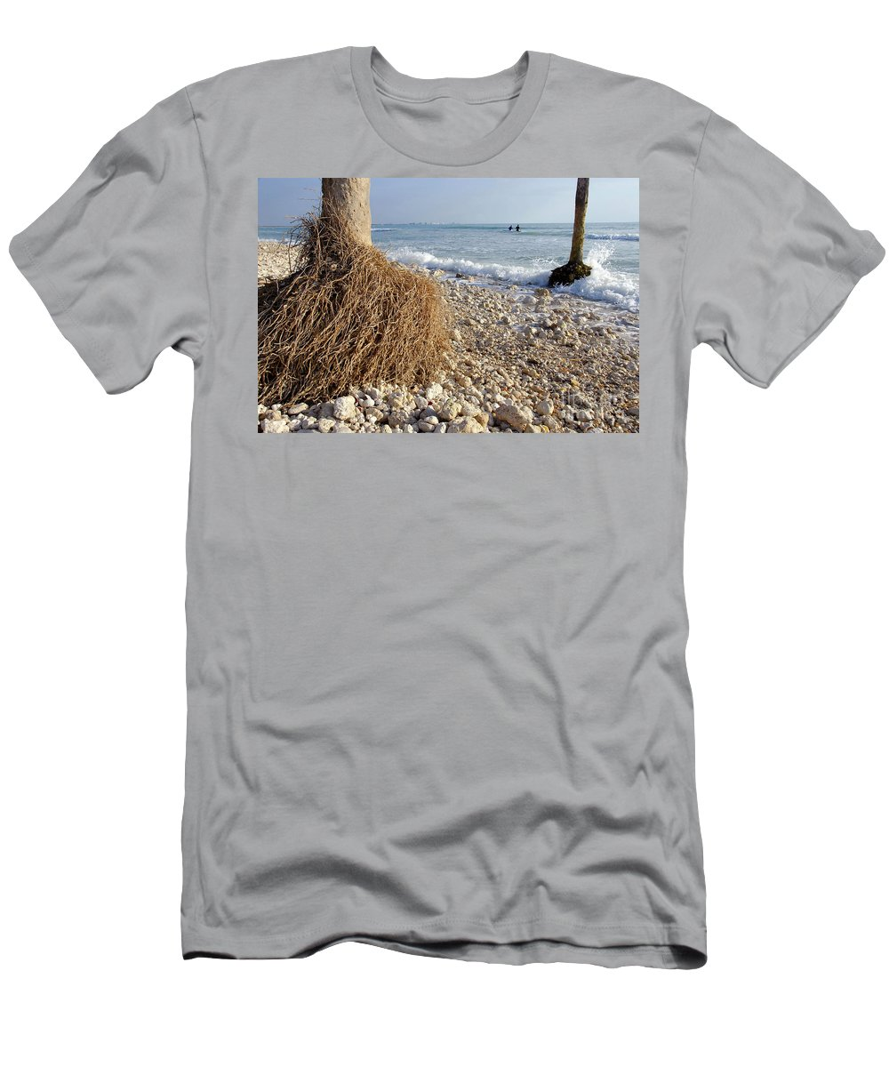 Surfing Men's T-Shirt (Athletic Fit) featuring the photograph Surfing With Palms by David Lee Thompson