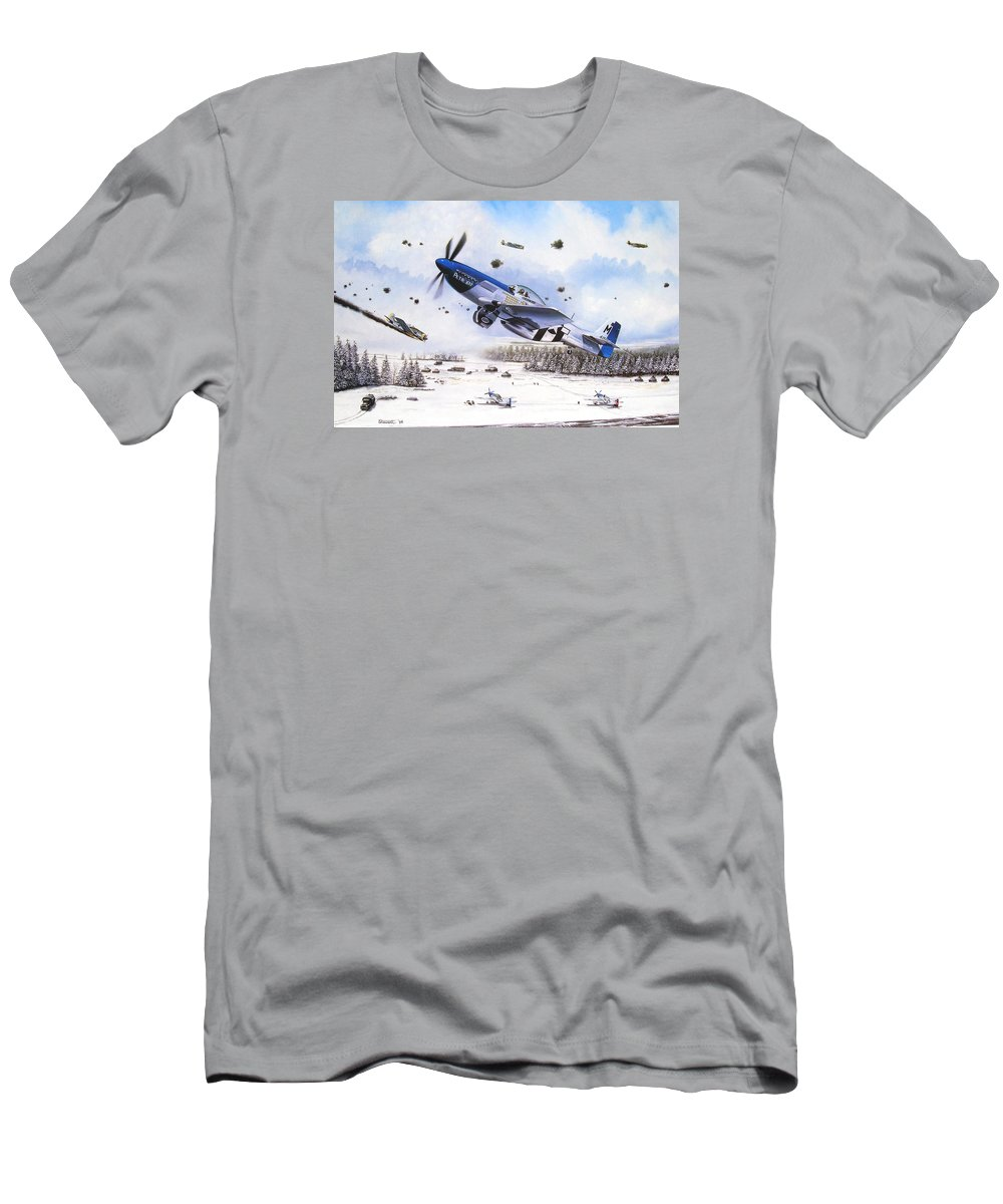 Aviation T-Shirt featuring the painting Surprise at Asch by Marc Stewart