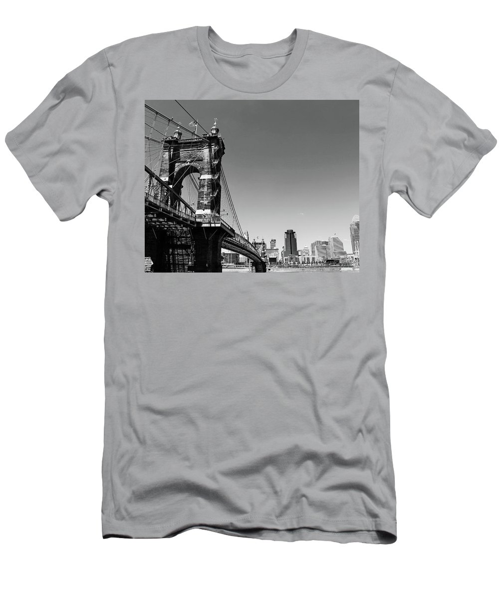 Landscape Men's T-Shirt (Athletic Fit) featuring the pyrography Suspension Bridge by Bayley Williams