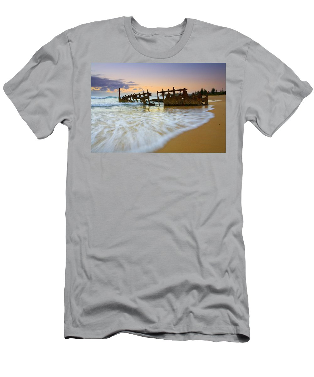 Shipwreck T-Shirt featuring the photograph Swallowed by the Tides by Mike Dawson
