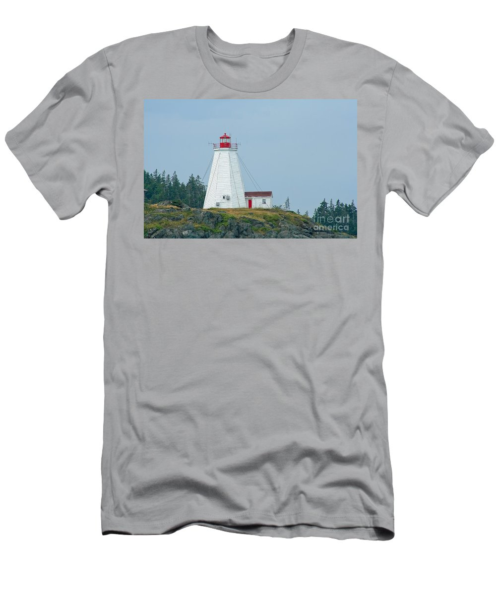 Lighthouse Men's T-Shirt (Athletic Fit) featuring the photograph Swallowtail Lighthouse by Thomas Marchessault