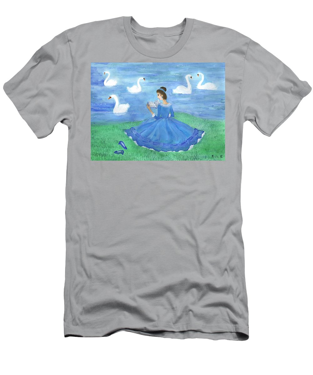 Swan Men's T-Shirt (Athletic Fit) featuring the painting Swan Lake Reader by Sushila Burgess