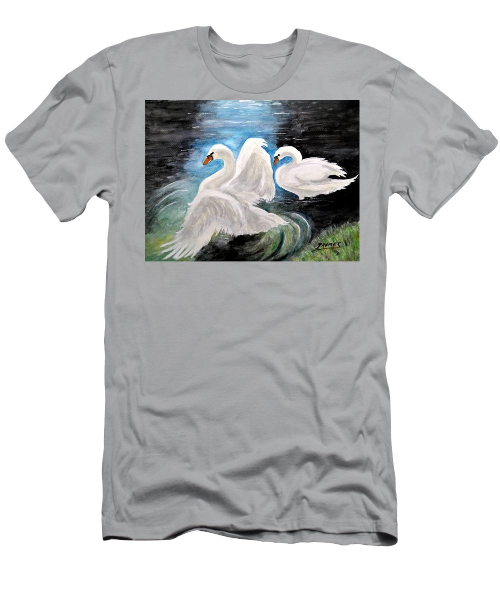 Birds Men's T-Shirt (Athletic Fit) featuring the painting Swans In Love by Carol Grimes
