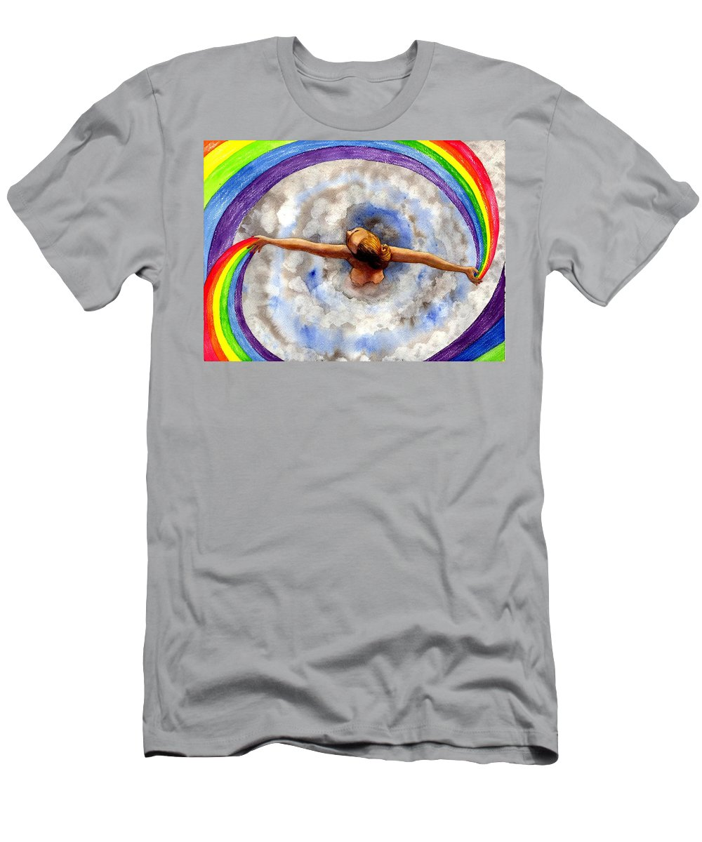 Rainbow Men's T-Shirt (Athletic Fit) featuring the painting Swirl by Catherine G McElroy