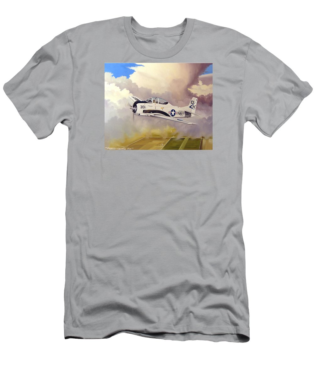 Military Men's T-Shirt (Athletic Fit) featuring the painting T-28 Over Iowa by Marc Stewart