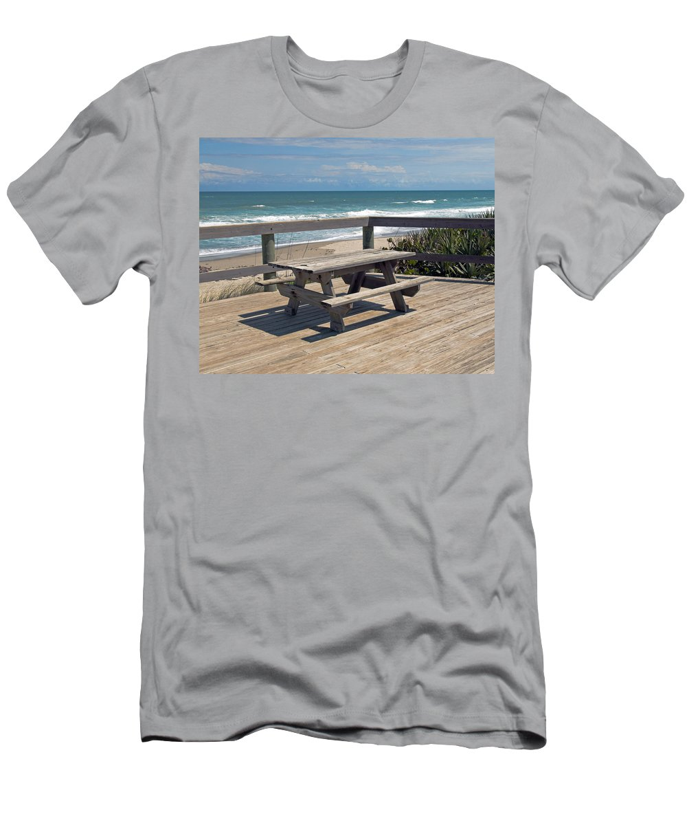 Florida Men's T-Shirt (Athletic Fit) featuring the photograph Table For You In Melbourne Beach Florida by Allan Hughes