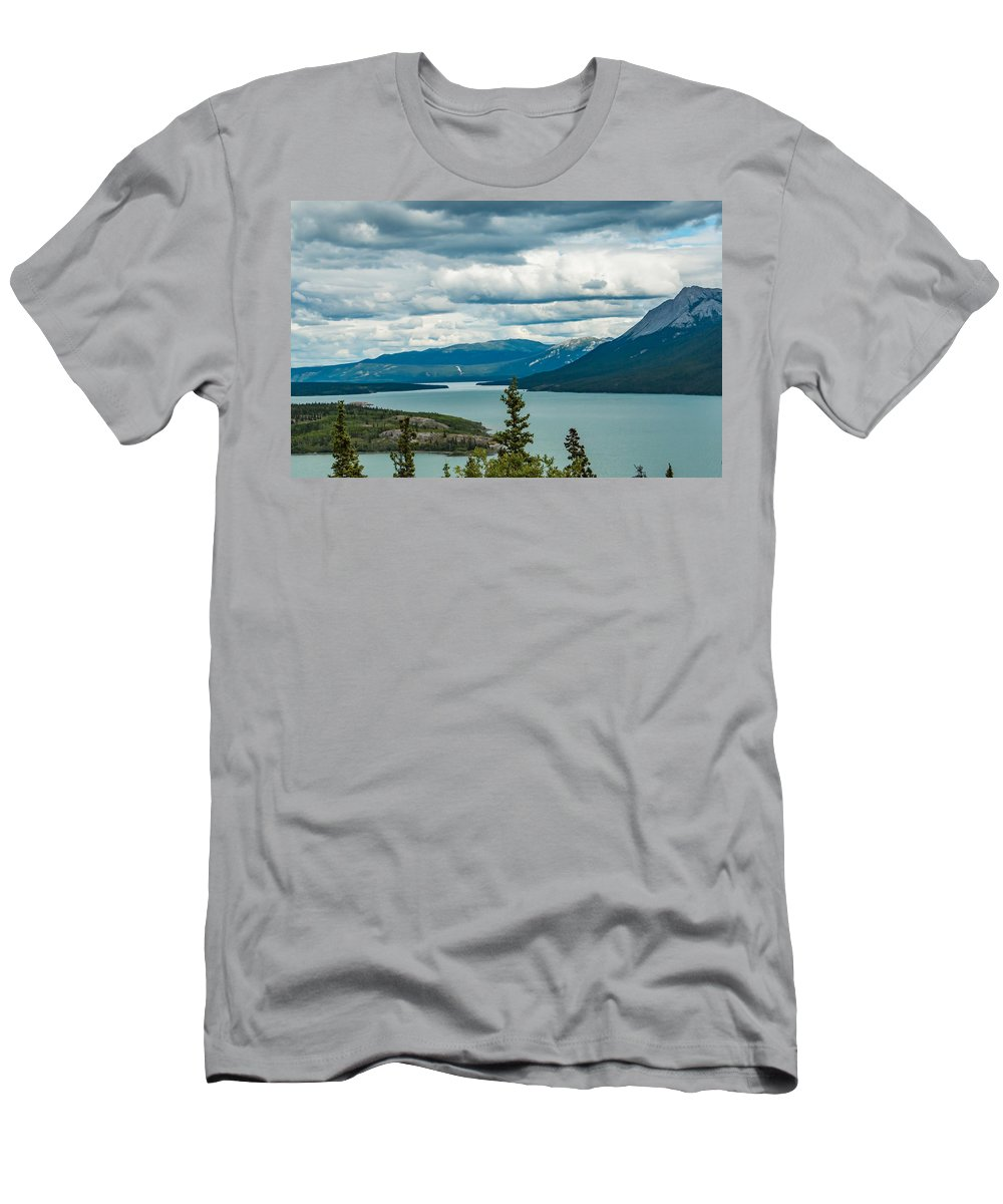 Bove Island Men's T-Shirt (Athletic Fit) featuring the photograph Tagish Lake by Edie Ann Mendenhall