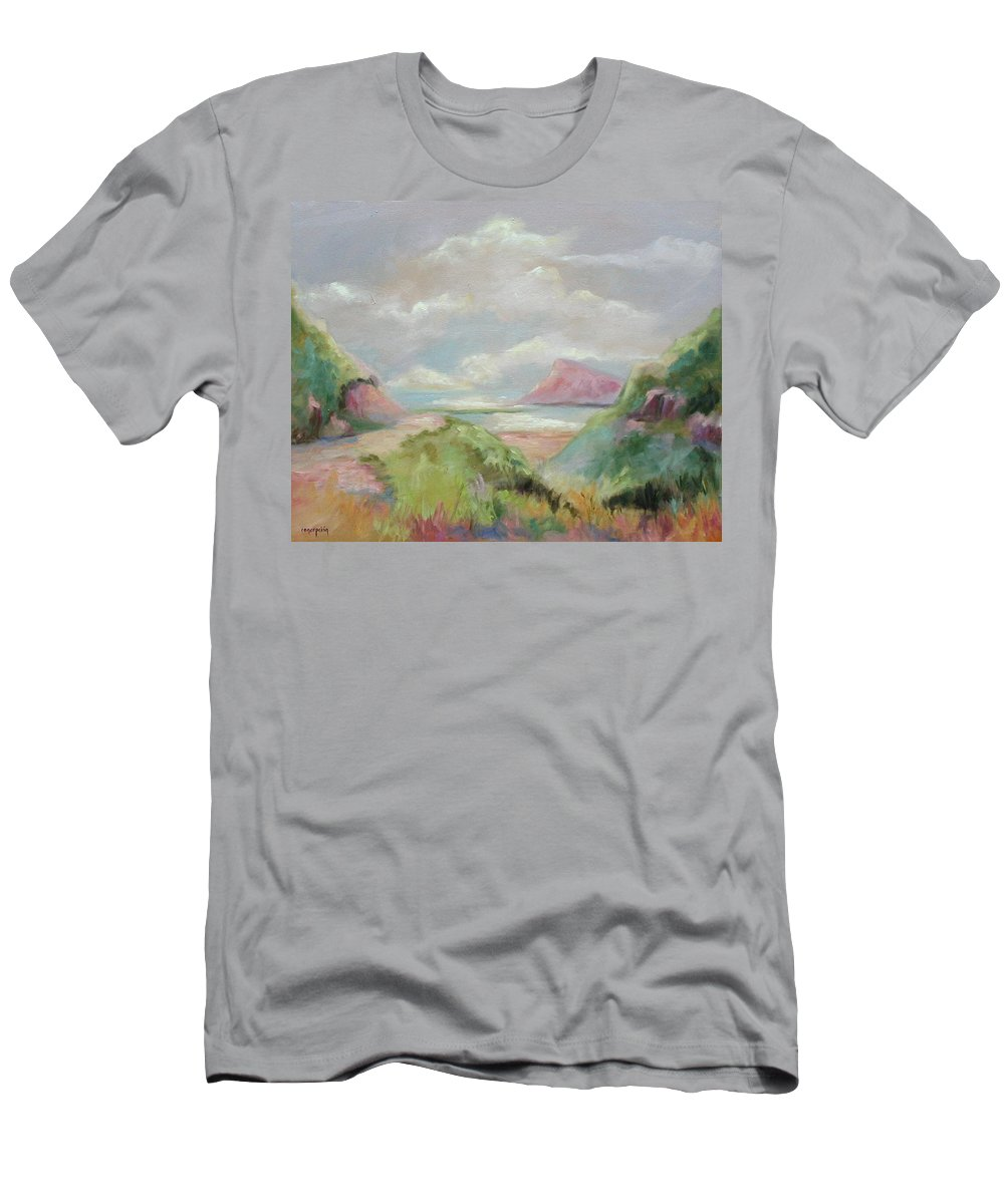 Seascape Men's T-Shirt (Athletic Fit) featuring the painting Taiwan Inlet by Ginger Concepcion