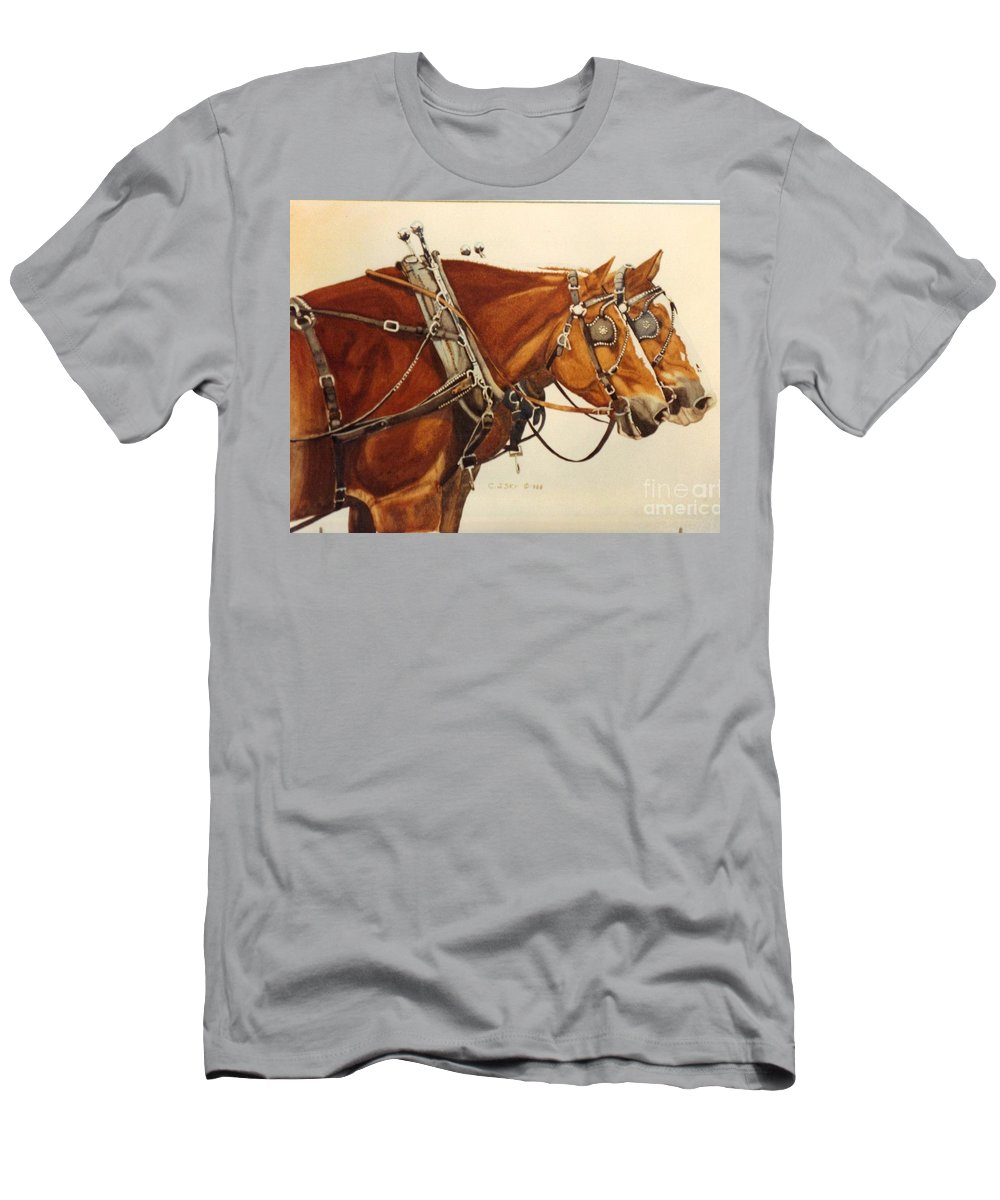 Western Suffolk Draft Horses In Harness Men's T-Shirt (Athletic Fit) featuring the painting Taking A Break by Cathy Sky