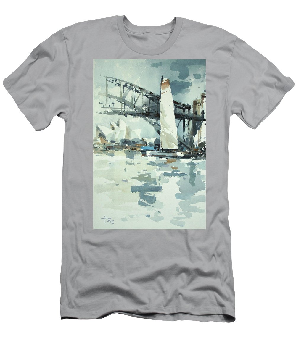 Sydney Men's T-Shirt (Athletic Fit) featuring the painting Tall Sails In Sydney by Tony Belobrajdic
