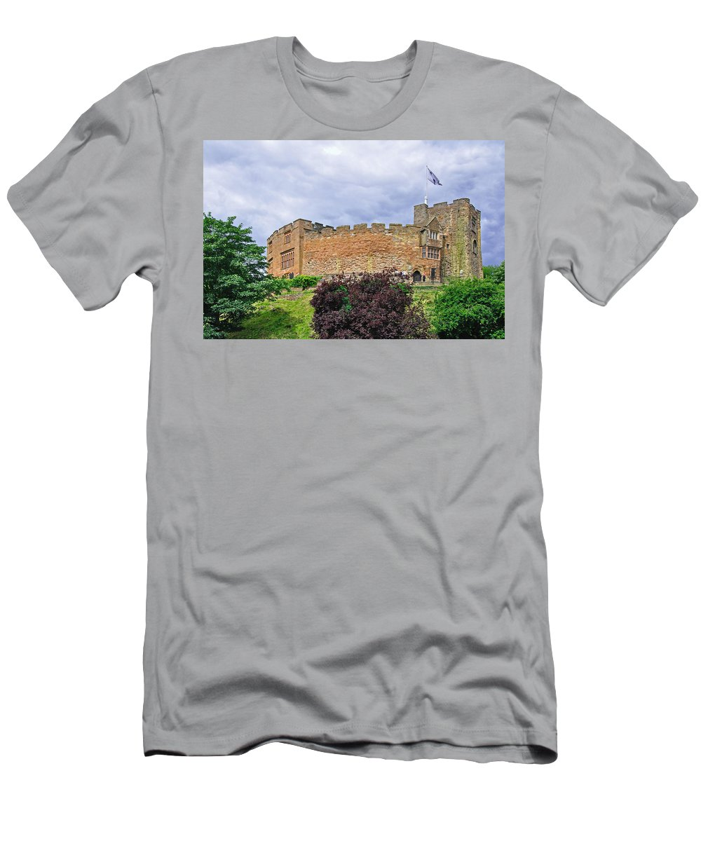 Blue-grey Men's T-Shirt (Athletic Fit) featuring the photograph Tamworth Castle by Rod Johnson