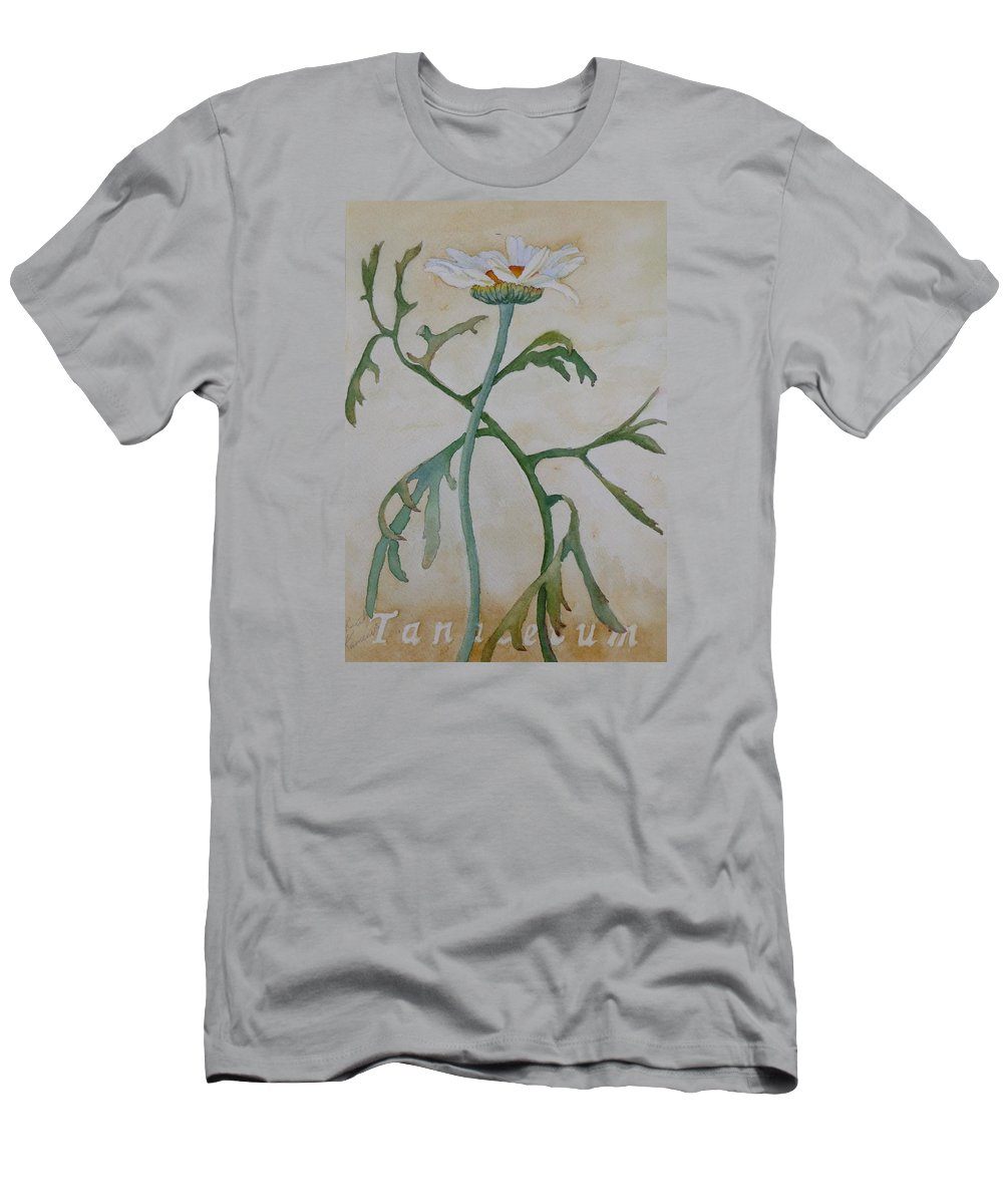 Flower Men's T-Shirt (Athletic Fit) featuring the painting Tanacetum by Ruth Kamenev