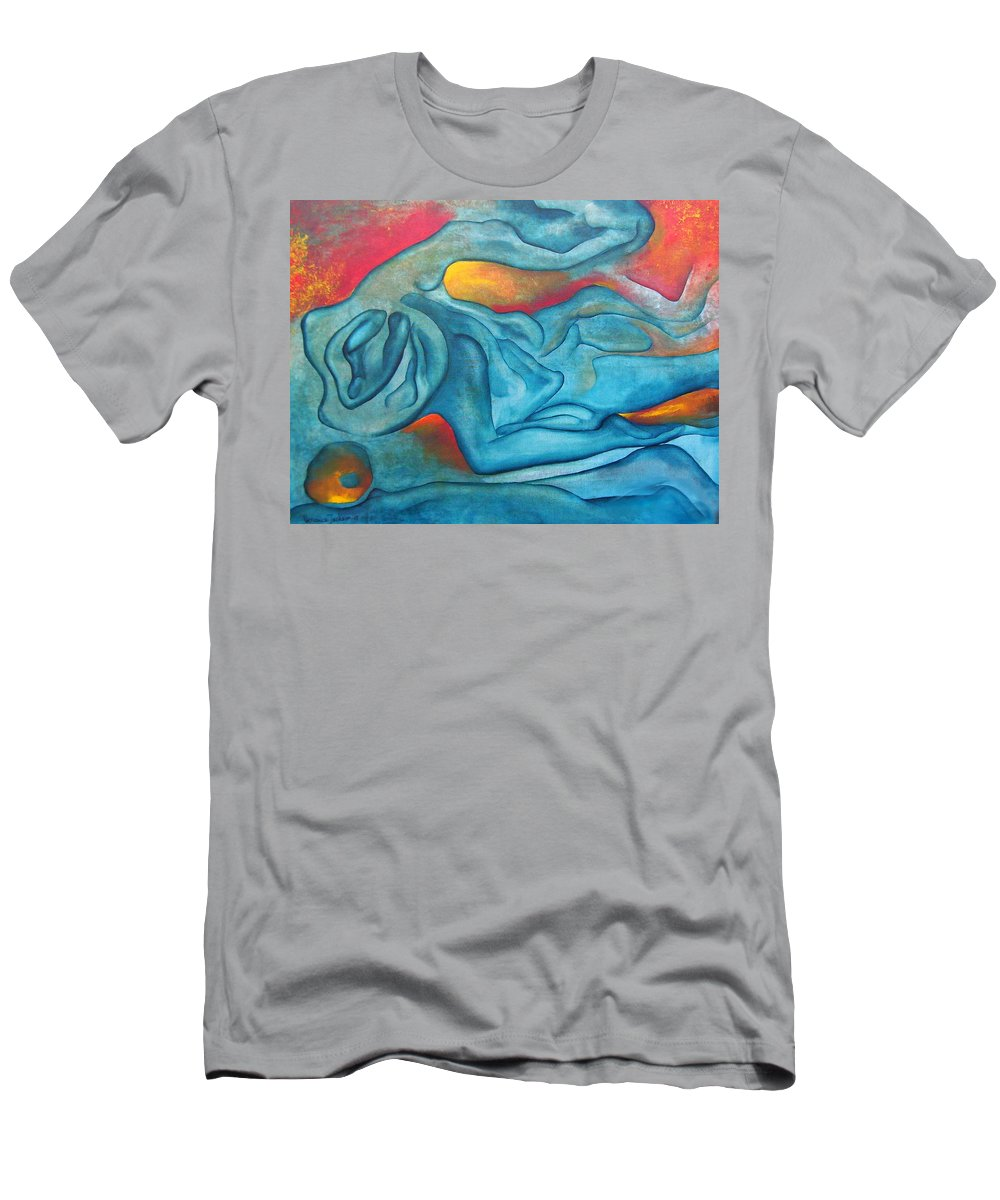 Abstract Blues Love Passion Sensual Earth T-Shirt featuring the painting Tangled Up by Veronica Jackson