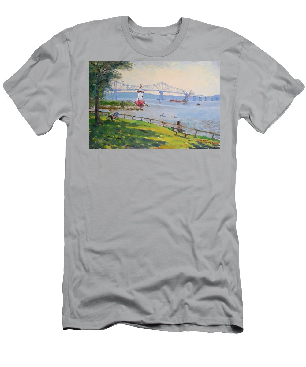 Tappan Zee Bridge And Light House Men's T-Shirt (Athletic Fit) featuring the painting Tappan Zee Bridge And Light House by Ylli Haruni