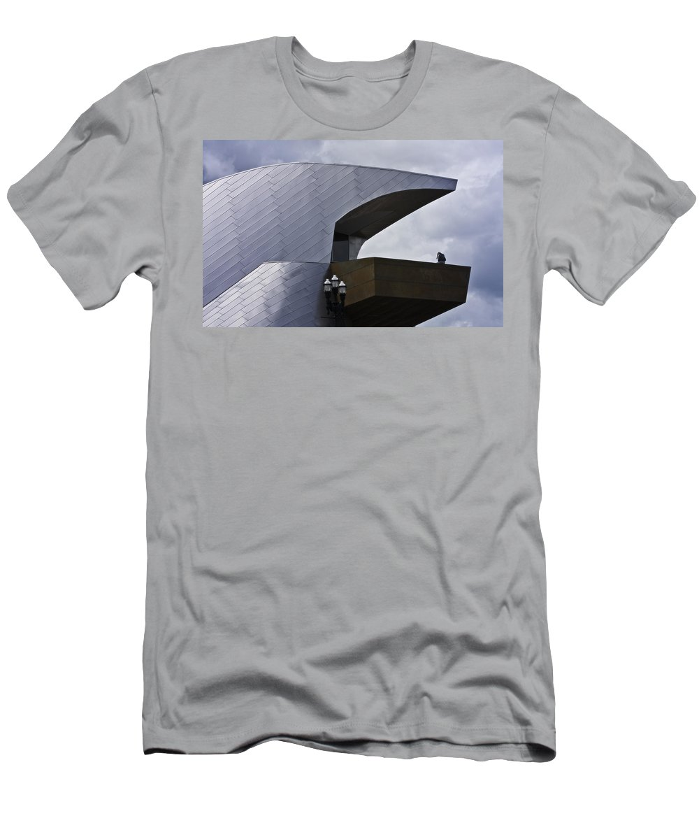 Roanoke Men's T-Shirt (Athletic Fit) featuring the photograph Taubman Ledge Sculpture Roanoke Virginia by Teresa Mucha