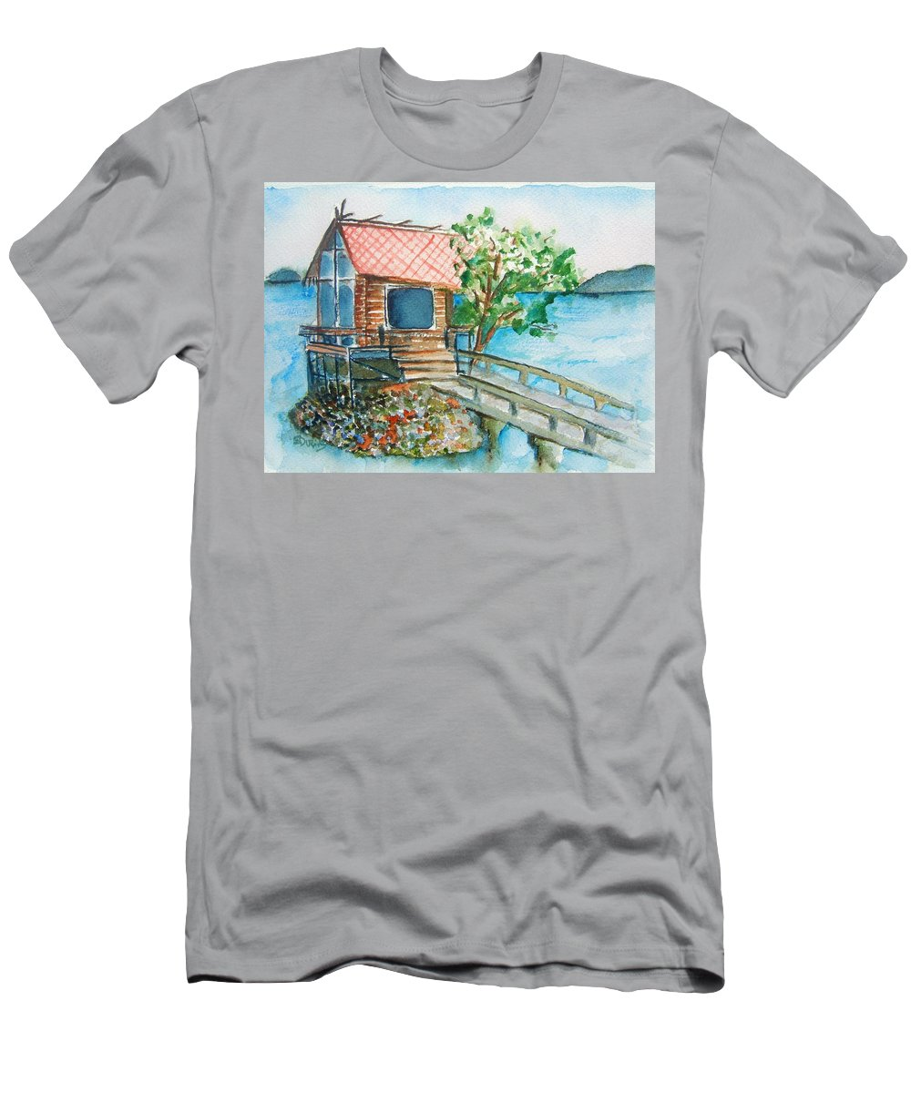 Japan Men's T-Shirt (Athletic Fit) featuring the painting Tazawako by Elaine Duras