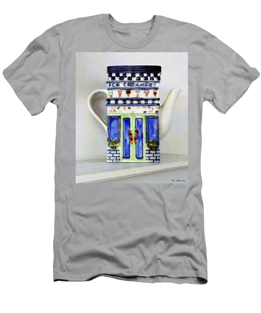 Crockery Men's T-Shirt (Athletic Fit) featuring the painting Teapot Delusional by RC DeWinter