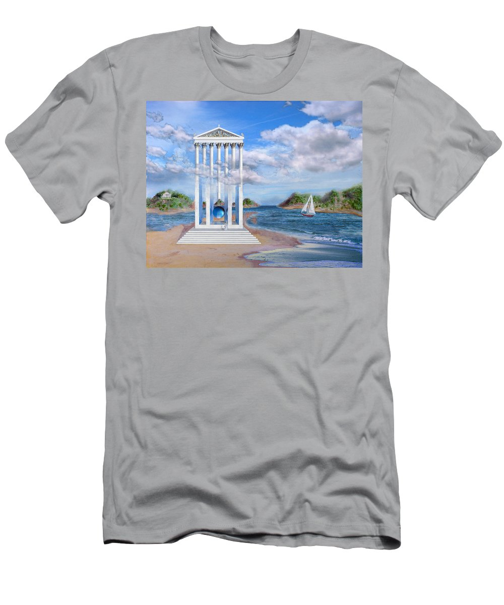 Landscape T-Shirt featuring the painting Temple for No One by Steve Karol