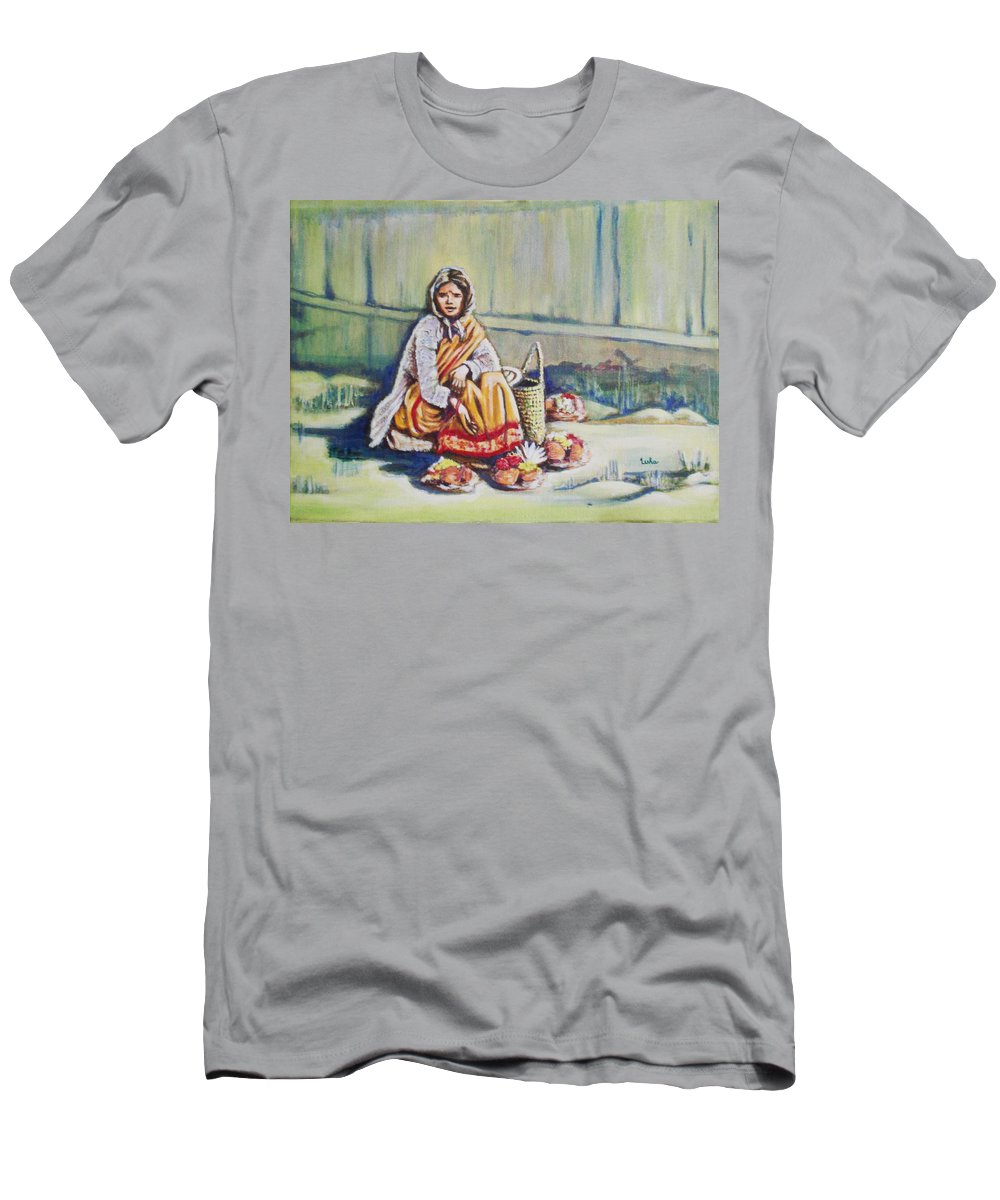 Usha Men's T-Shirt (Athletic Fit) featuring the painting Temple-side Vendor by Usha Shantharam