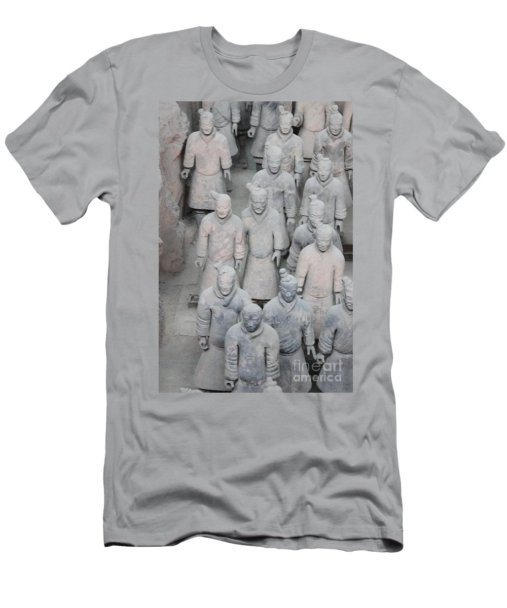 Terra Cotta Men's T-Shirt (Athletic Fit) featuring the photograph Terra Cotta Warriors Detail by Thomas Marchessault