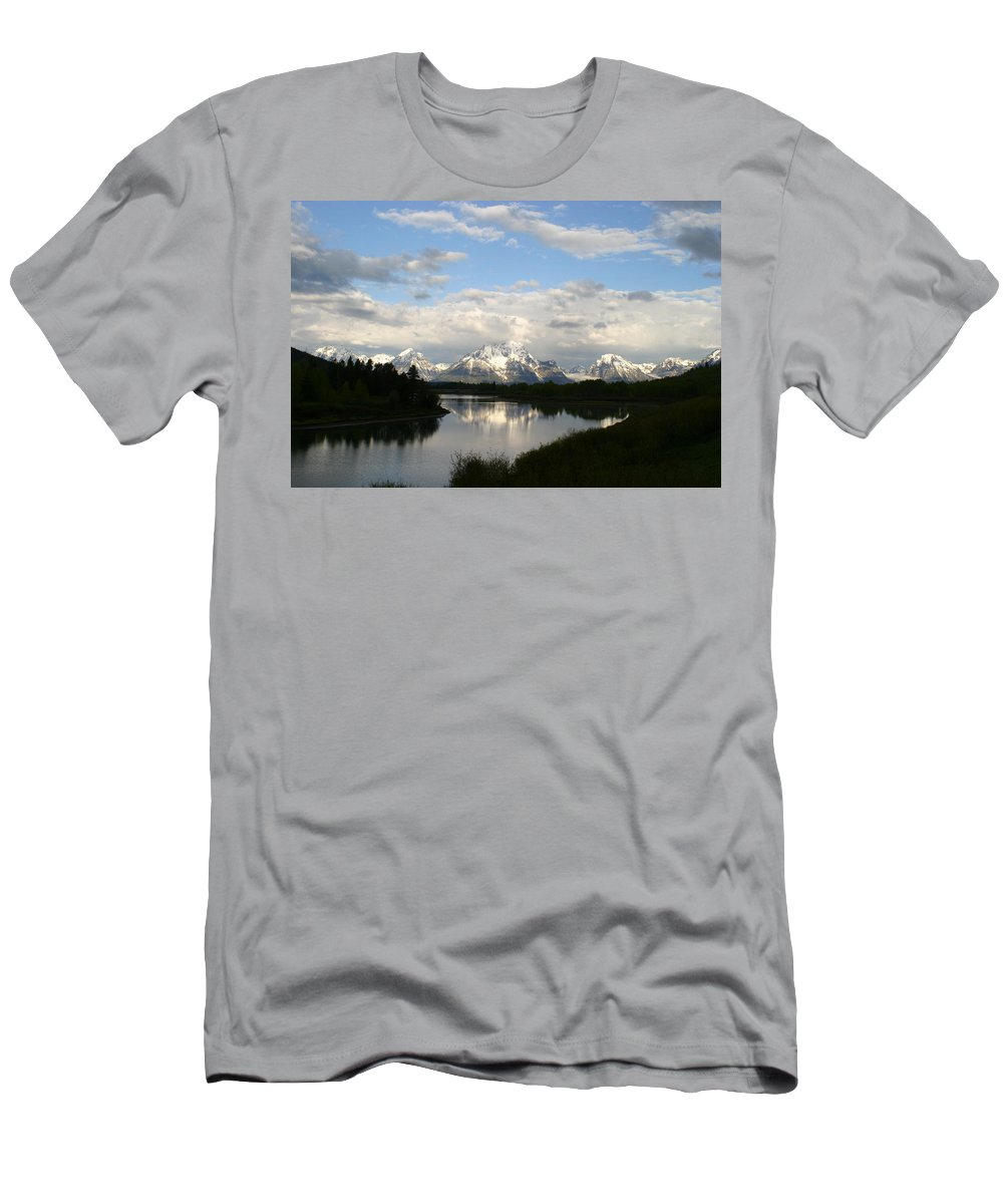 Grand Tetons Mountains Snow Capped National Park Nature Nature Snow Water Lake Sillouhette Skyline Men's T-Shirt (Athletic Fit) featuring the photograph Tetons At Dawn by Shari Jardina