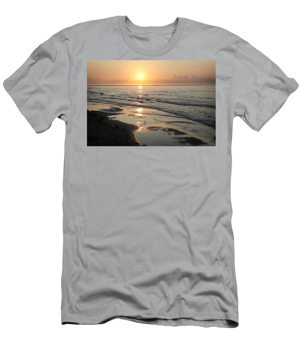 Water Men's T-Shirt (Athletic Fit) featuring the photograph Texas Gulf Coast At Sunrise by Marilyn Hunt
