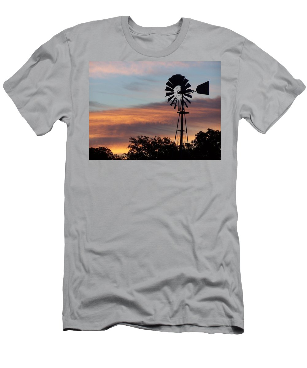 Windmill Men's T-Shirt (Athletic Fit) featuring the photograph Texas Sunrise by Gale Cochran-Smith
