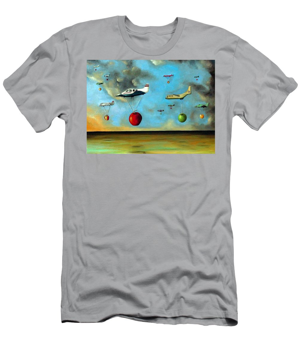 Planes Men's T-Shirt (Athletic Fit) featuring the painting The Amazing Race by Leah Saulnier The Painting Maniac