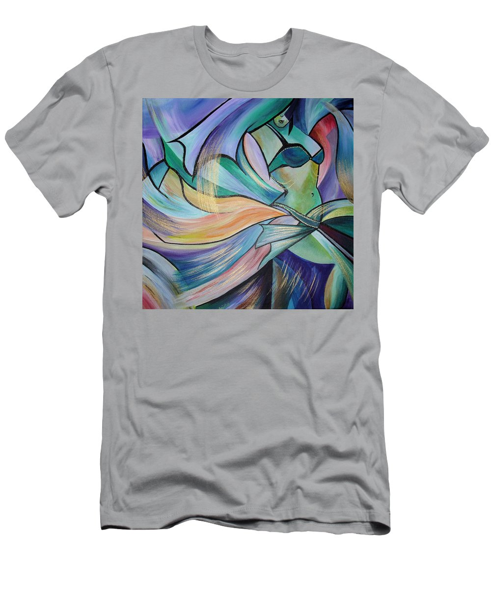 Dance Men's T-Shirt (Athletic Fit) featuring the painting The Art Of Belly Dance by Taiche Acrylic Art