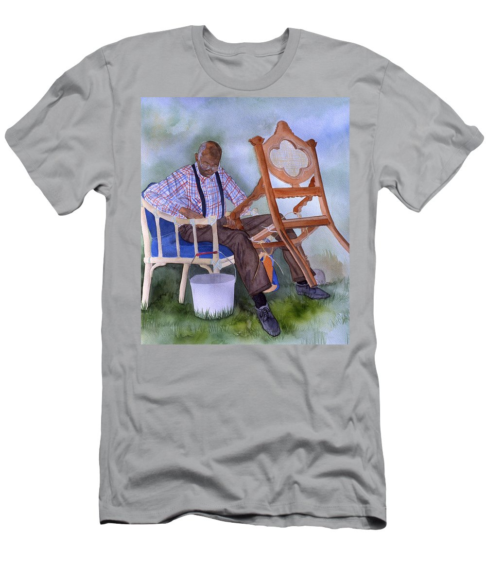 Portrait Men's T-Shirt (Athletic Fit) featuring the painting The Art Of Caning by Jean Blackmer