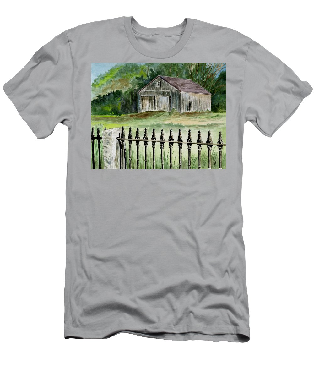 Landscape Men's T-Shirt (Athletic Fit) featuring the painting The Barn At Parsonsfield Maine by Brenda Owen