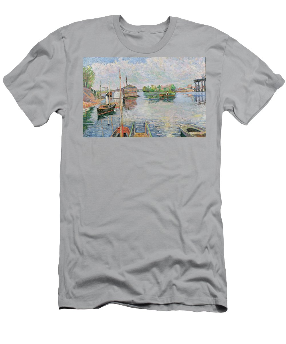 The Men's T-Shirt (Athletic Fit) featuring the painting The Bateau Lavoir At Asnieres by Paul Signac