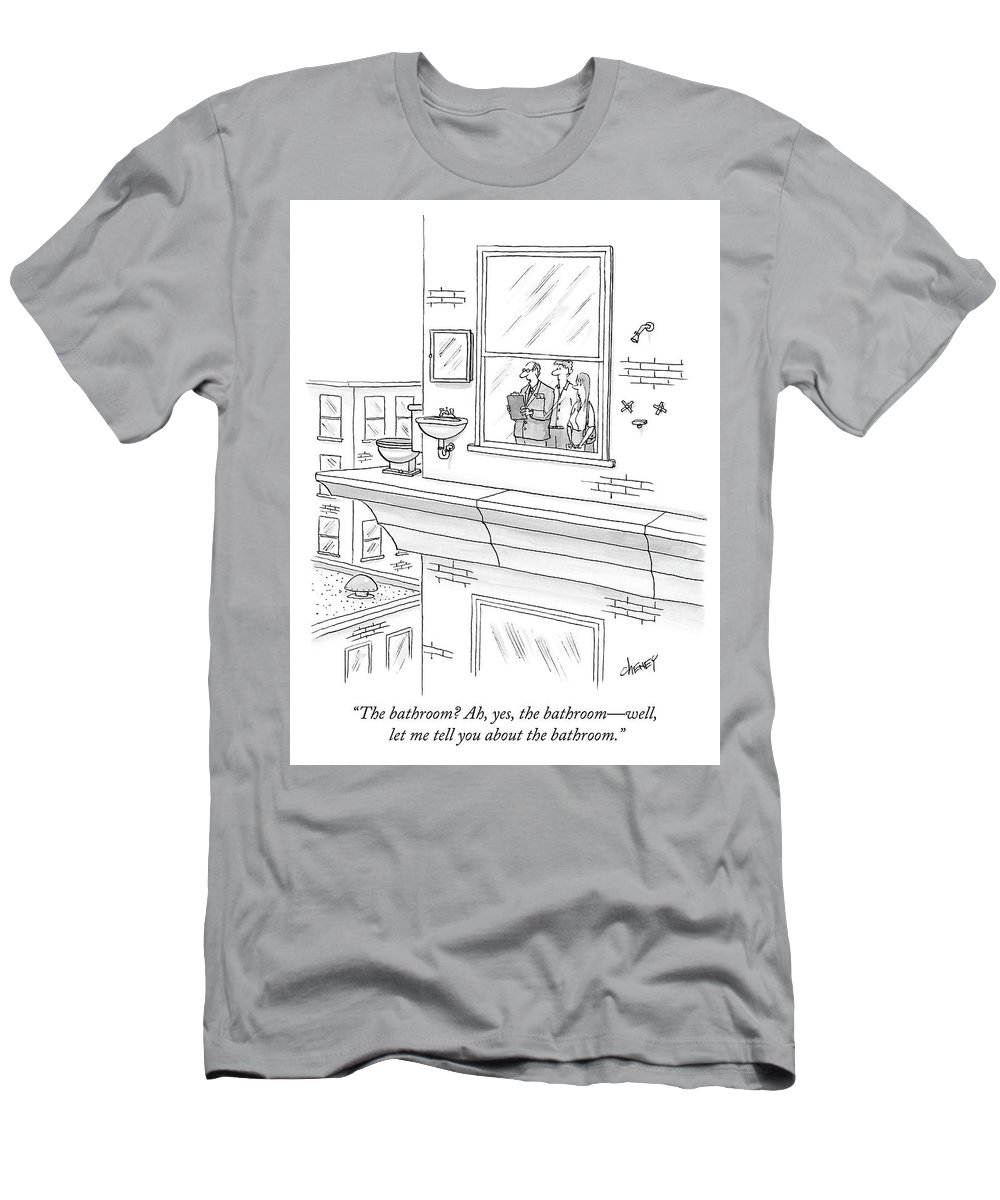 """""""the Bathroom? Ah T-Shirt featuring the drawing The bathroom by Tom Cheney"""