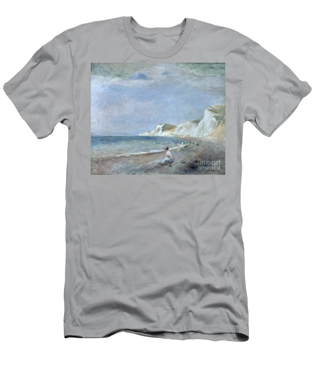The Men's T-Shirt (Athletic Fit) featuring the painting The Beach At Varangeville by Renoir