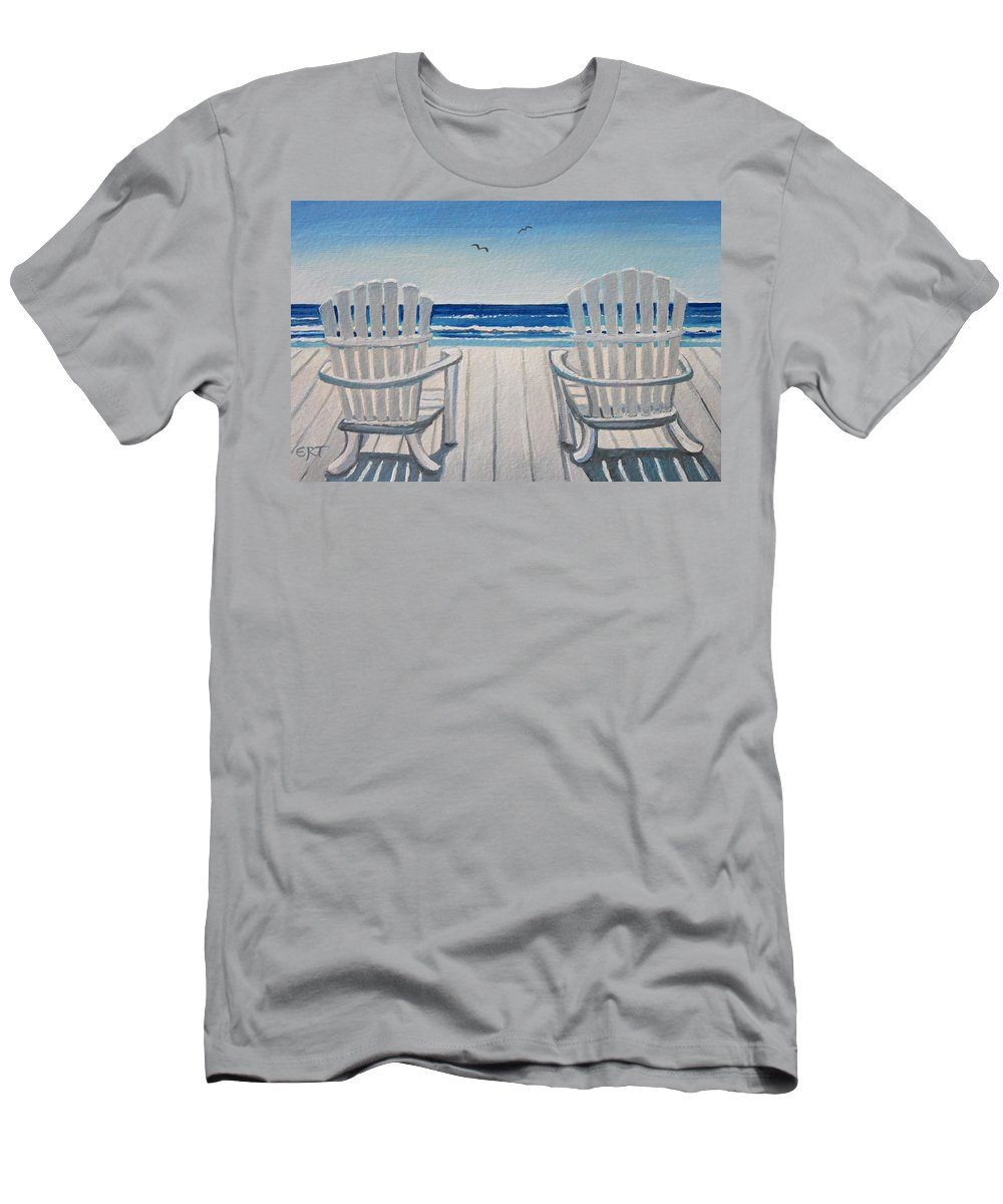 Beach Men's T-Shirt (Athletic Fit) featuring the painting The Beach Chairs by Elizabeth Robinette Tyndall