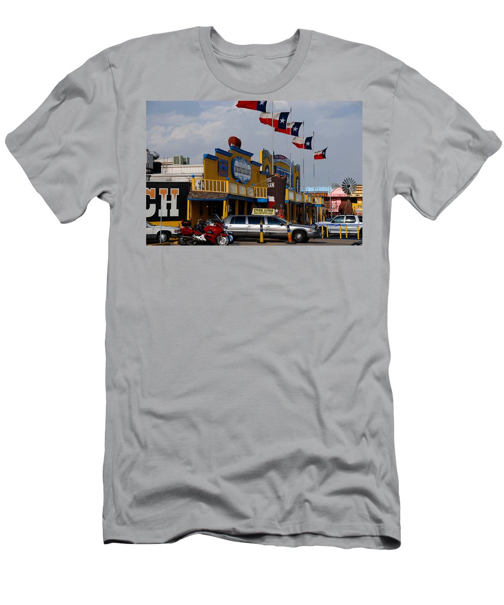 The Big Texan Men's T-Shirt (Athletic Fit) featuring the photograph The Big Texan In Amarillo by Susanne Van Hulst