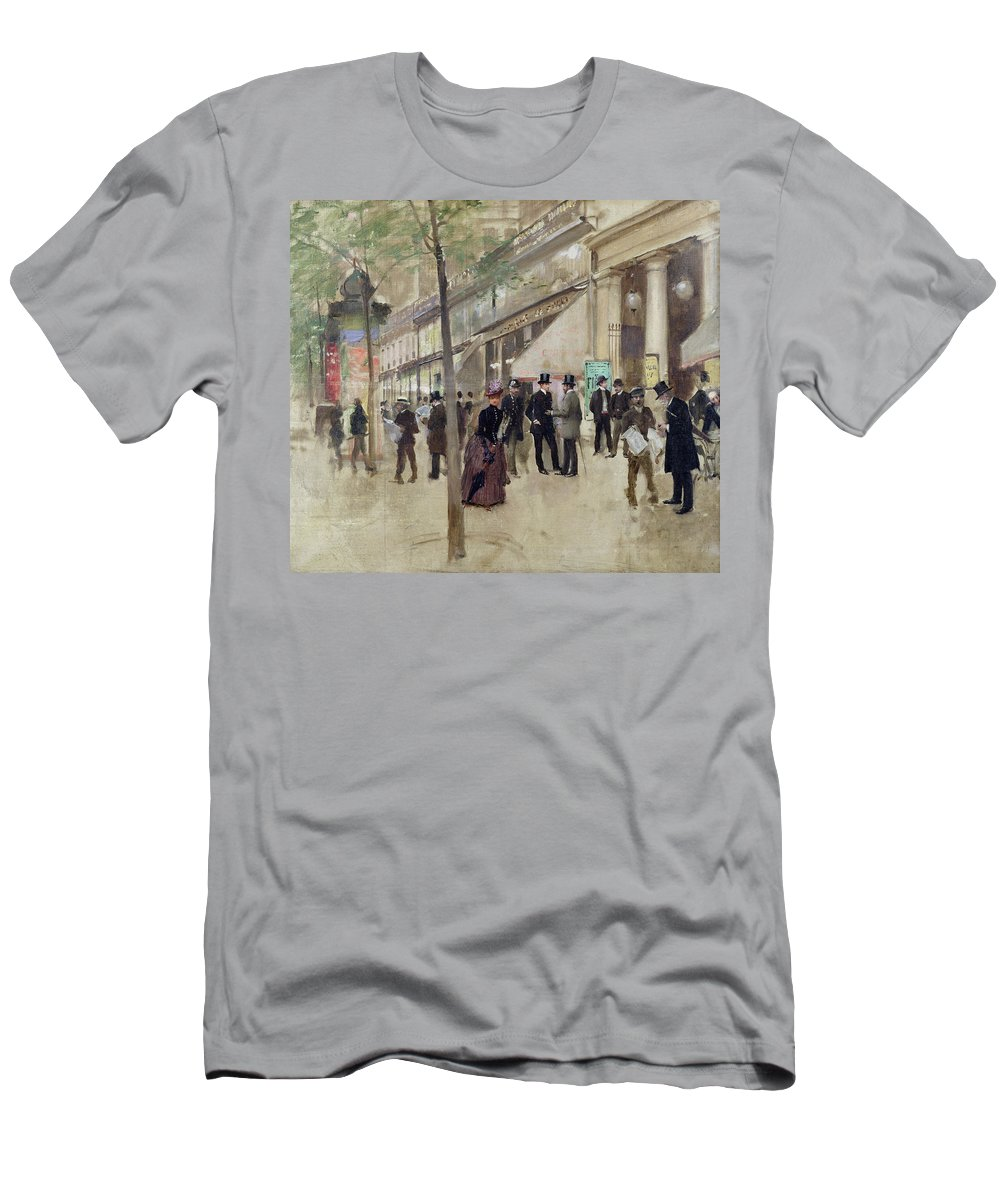 The Boulevard Montmartre And The Theatre Des Varietes Men's T-Shirt (Athletic Fit) featuring the painting The Boulevard Montmartre And The Theatre Des Varietes by Jean Beraud