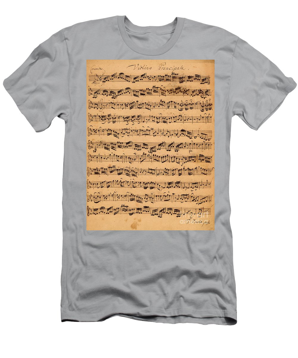 Music; Musician; Score; Composition; Composer; Classical Music; Baroque; Notes; Note; Notation; Handwritten; Manuscript; Handwriting; First Violin T-Shirt featuring the drawing The Brandenburger Concertos by Johann Sebastian Bach