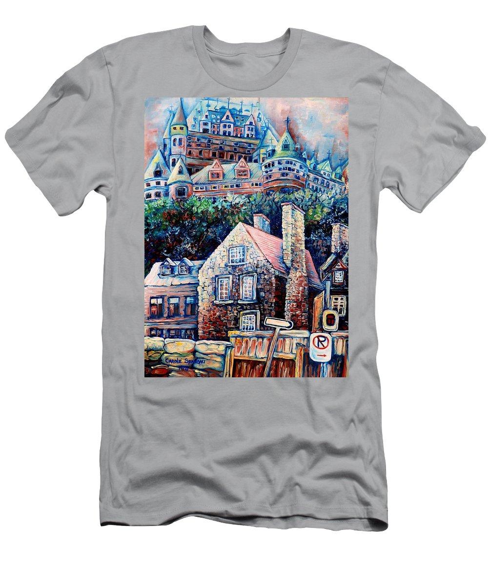Chateau Frontenac Men's T-Shirt (Athletic Fit) featuring the painting The Chateau Frontenac by Carole Spandau
