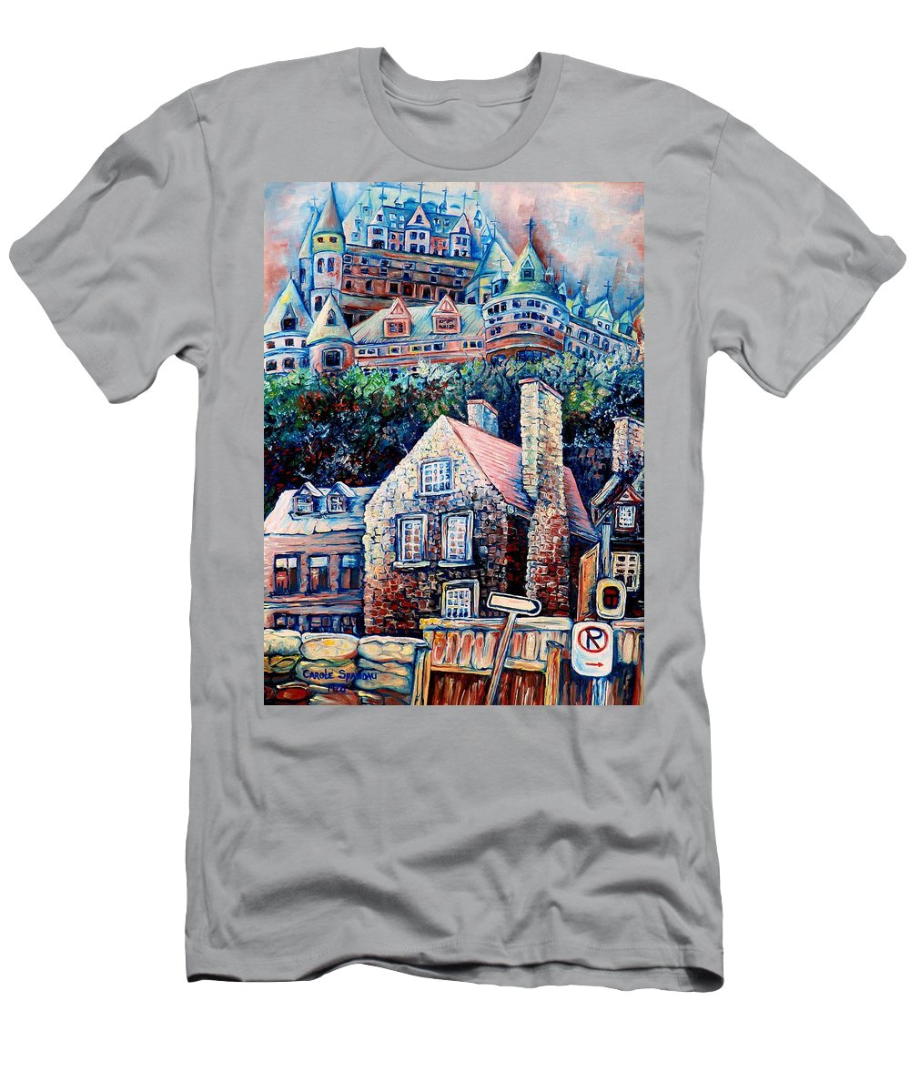 Chateau Frontenac T-Shirt featuring the painting The Chateau Frontenac by Carole Spandau
