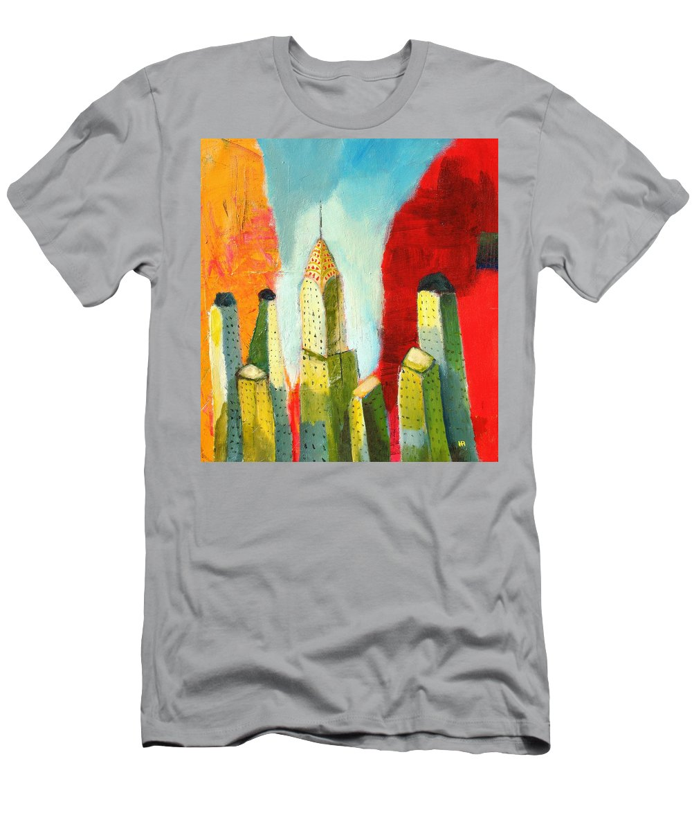 Abstract Cityscape Men's T-Shirt (Athletic Fit) featuring the painting The Chrysler In Colors by Habib Ayat