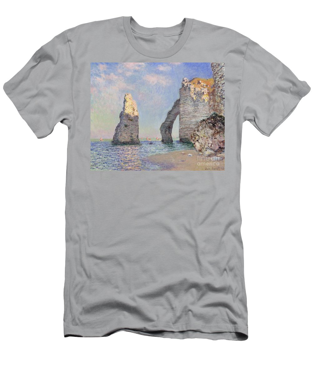 The Cliffs At Etretat T-Shirt featuring the painting The Cliffs at Etretat by Claude Monet
