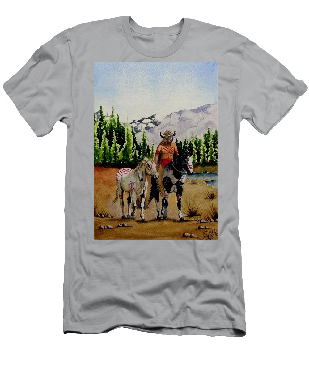 American Men's T-Shirt (Athletic Fit) featuring the painting The Crossing by Jimmy Smith
