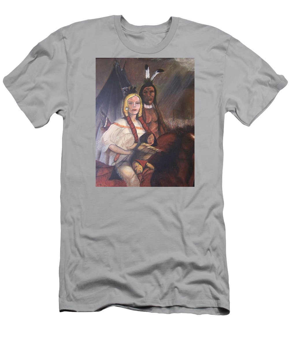 Artwork Men's T-Shirt (Athletic Fit) featuring the painting The Cynthia Ann Parker Family by Laurie Kidd