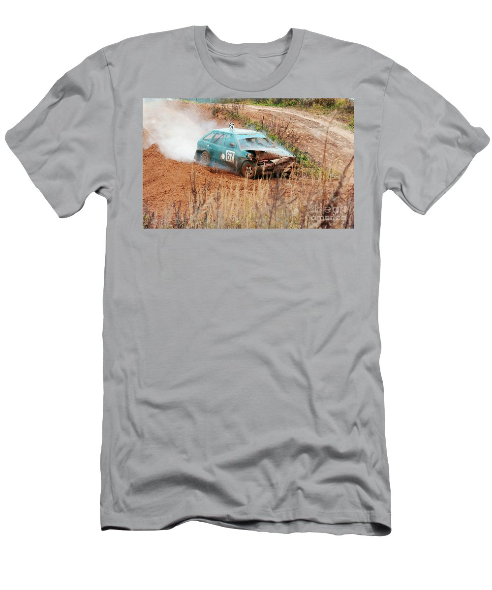 Amortisation Men's T-Shirt (Athletic Fit) featuring the photograph The Damaged Car In A Smoke by Vadzim Kandratsenkau