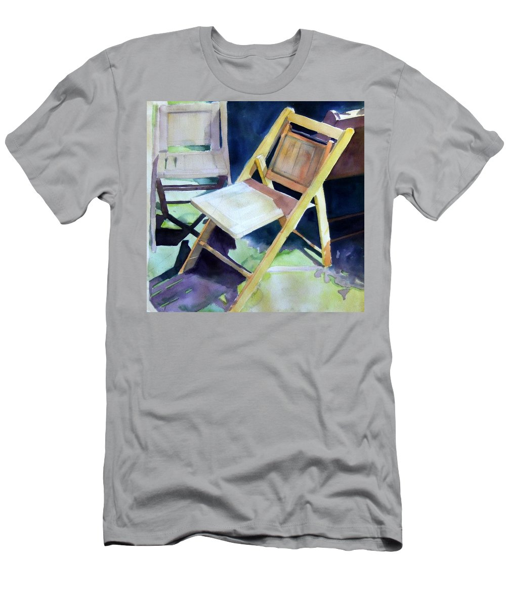 Folding Chairs Men's T-Shirt (Athletic Fit) featuring the painting The Dance by Sheila Wedegis