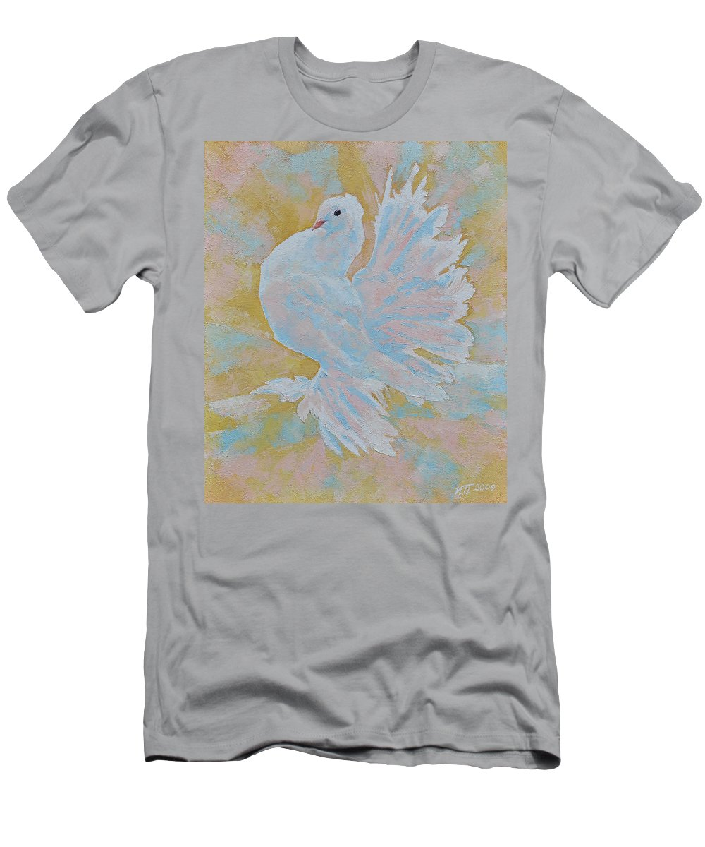 Dove Men's T-Shirt (Athletic Fit) featuring the painting The Dove by Iliyan Bozhanov